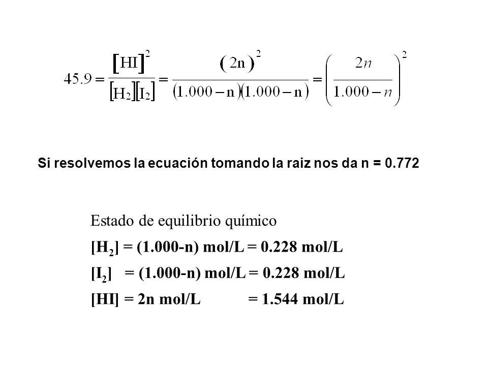 Estado de equilibrio químico [H2] = (1.000-n) mol/L = 0.228 mol/L